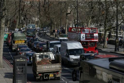 Embouteillage dans le centre de Londres, le 17 février 2017 © Daniel LEAL-OLIVAS AFP/Archives
