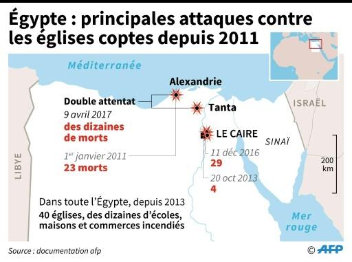 Localisation des attentats qui ont visé des églises coptes en Egypte depuis 2011  © Sabrina BLANCHARD, Thomas SAINT-CRICQ AFP