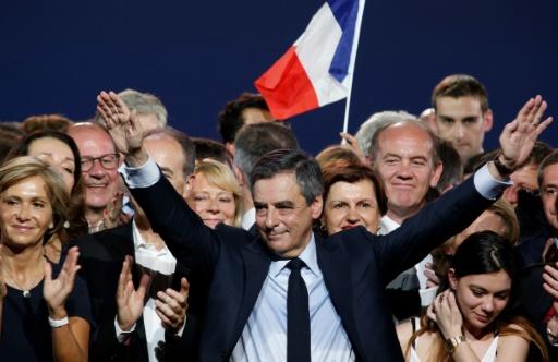 François Fillon au meeting Porte de Versailles, le 9 avril 2017 © GEOFFROY VAN DER HASSELT AFP