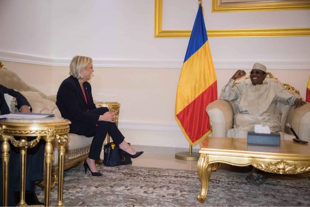 Marine Le Pen et Idriss Déby lors de leur entretien à N'Djamena le 21 mars 2017. ©  AFP