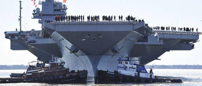 Le futur USS Gerald R. Ford le 8 avril, lors de sa première sortie.