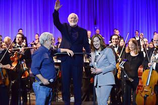 George Lucas, John Williams et Kathleen Kennedy lors de la Star Wars Celebration, le 13 avril 2017 à Orlando. ©Gerardo Mora