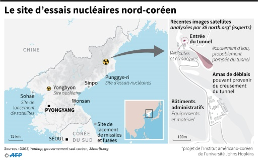 Le site d'essais nucléaires nord-coréen © Laurence CHU, John SAEKI AFP