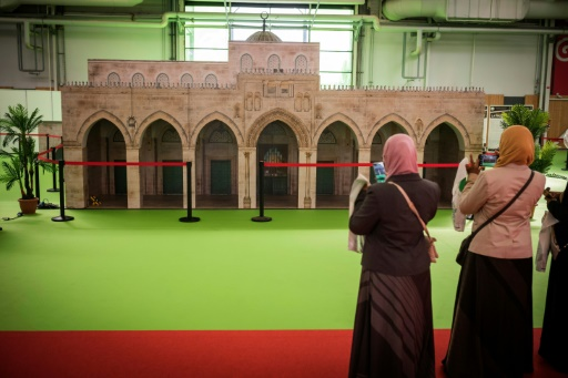 A la 34e rencontre annuelle des musulmans de France, au Bourget, le 14 avril 2017 © LIONEL BONAVENTURE AFP