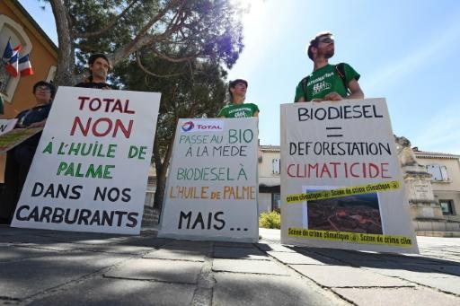 Des militants manifestent devant la mairie de Châteauneuf-les-Martigues, dans les Bouches-du-Rhône, le 14 avril 2017, contre la reconversion d'un site de Total à la Mède en bioraffinerie © ANNE-CHRISTINE POUJOULAT AFP