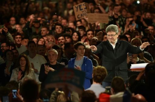 Jean-Luc Mélenchon, candidat de La France insoumise à la présidentielle, lors d'une meeting de campagne à Lille, le 12 avril 2017 © Philippe HUGUEN AFP/Archives