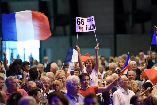 Des partisans de François Fillon, lors d'un meeting à Pérols, près de Montpellier, le 14 avril 2017 © PASCAL GUYOT AFP