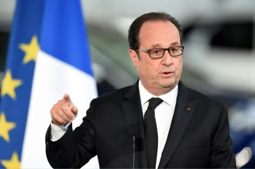 Le président François Hollande, le 14 avril 2017 à Sochaux  © Sébastien BOZON AFP
