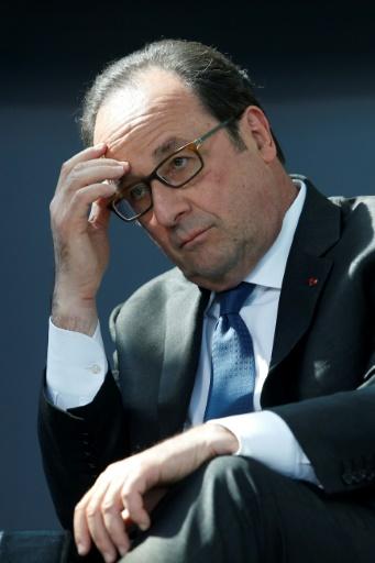 Le président François Hollande, le 13 avril 2017 à Paris © GEOFFROY VAN DER HASSELT POOL/AFP