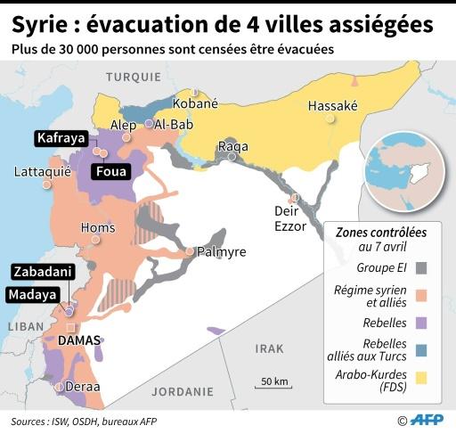 Syrie: quatre villes assiégées évacuées © Simon MALFATTO, Jean Michel CORNU AFP