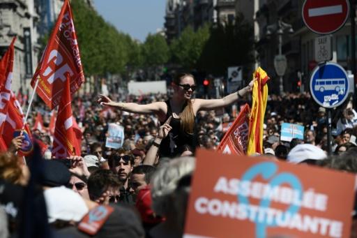 Des supporters de Jean-Luc Mélenchon lors d'un rassemblement à Marseille, le 9 avril 2017 © Anne-Christine POUJOULAT             AFP/Archives