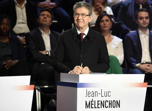 Le candidat du mouvement La France insoumise à l'élection présidentielle, Jean-Luc Mélenchon, lors du débat réunissant les 11 candidats à La Plaine-Saint-Denis, près de Paris, le 4 avril 2017 © Lionel BONAVENTURE POOL/AFP/Archives