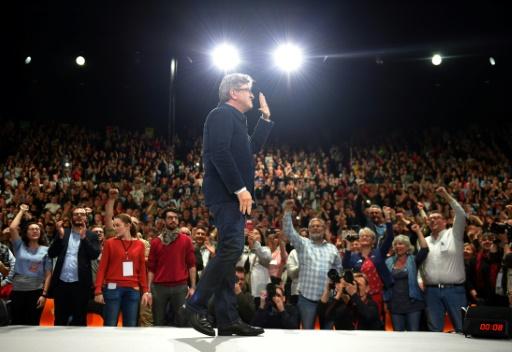Le candidat du mouvement La France insoumise à l'élection présidentielle, Jean-Luc Mélenchon, lors d'un meeting de campagne à Déols, dans l'Indre, le 2 avril 2017 © GUILLAUME SOUVANT AFP/Archives