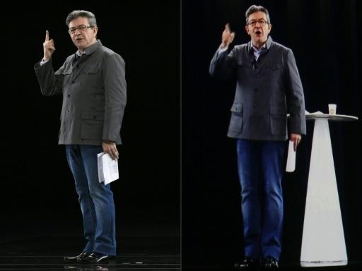 Jean-Luc Mélenchon, physiquement présent à Chassieu près de Lyon (g), et retransmis en hologramme à La Plaine-Saint-Denis, près de Paris, le 5 février 2017 © JEAN-PHILIPPE KSIAZEK, THOMAS SAMSON AFP/Archives