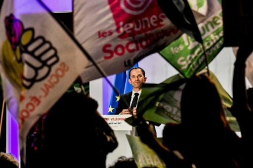 Benoît Hamon au début d'un meeting de campagne à Villeurbanne, près de Lyon, le 11 avril 2017 © JEFF PACHOUD AFP/Archives