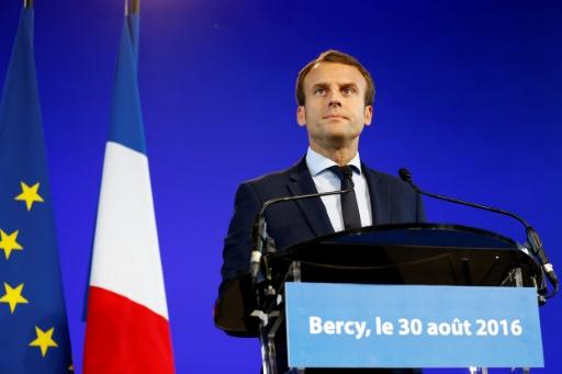 Emmanuel Macron tenant une conférence de presse après sa démission du gouvernement, le 30 août 2016 à Paris © MATTHIEU ALEXANDRE AFP/Archives