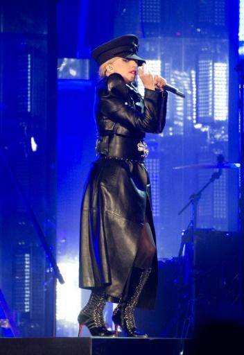 La chanteuse Lady Gaga, tête d'affiche de la deuxième journée du festival californien de Coachella, le 15 avril 2017  © VALERIE MACON AFP