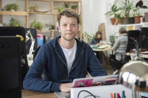 """Michael Bohmeyer, fondateur de la startup """"Mein Grundeinkommen"""" (mon revenu de base) à Berlin, le 13 avril 2017 © STEFFI LOOS AFP/Archives"""