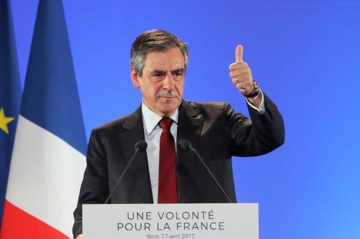 Le candidat du parti Les Républicains à la présidentielle, François Fillon, lors d'un meeting à Nice, le 17 avril 2017 © Valery HACHE AFP