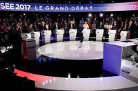Débat télévisé du 4 avril, de la campagne présidentielle 2017 ©LIONEL BONAVENTURE/POOL-REA