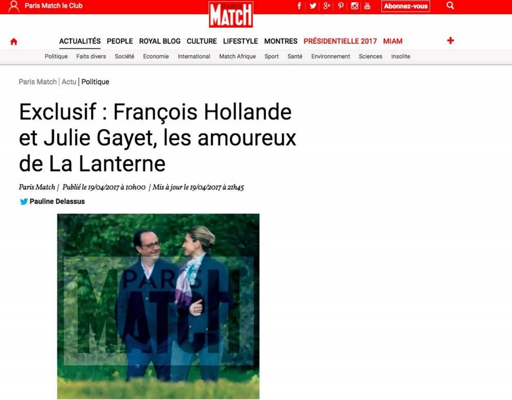 """Le cliché """"volé"""" publié par Paris Match le 19 avril sur son site. ©  Paris-Match"""