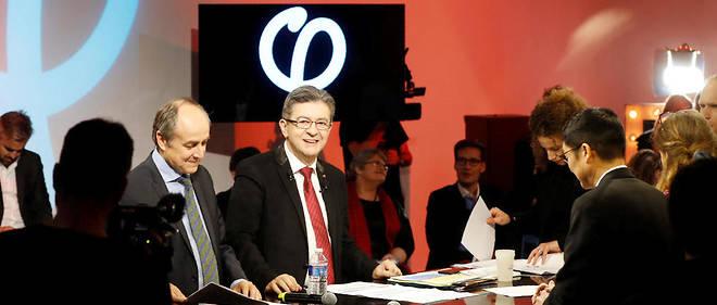 Jean-Luc Mélenchon et Jacques Généreux l'un des auteurs du programme du candidat, L'avenir en commun.