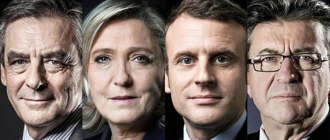 Selon un sondage Elabe, Macron arriverait en tête (24 %) dimanche, devant Marine Le Pen (21,5 %), suivie de François Fillon (20 %) et Jean-Luc Mélenchon (19,5 %) au coude-à-coude.