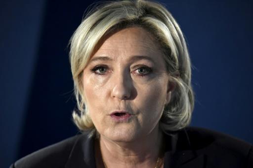 Marine Le Pen fait une déclaration sur le terrorisme à son QG de campagne le 21 avril 2017 © Lionel BONAVENTURE AFP