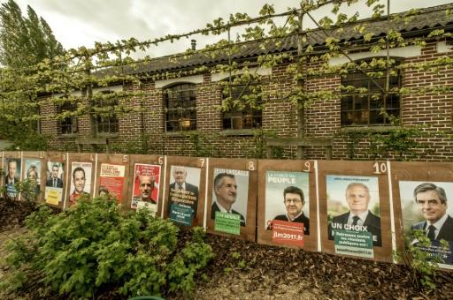 Des affiches électorales le 21 avril 2017 au Ryveld à Steenvoorde (nord) © PHILIPPE HUGUEN AFP/Archives