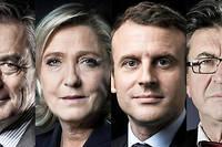 Les quatre principaux candidats. Selon Philippe Tesson, la campagne n'a pas été « si médiocre que ça » ©JOEL SAGET, JOEL SAGET