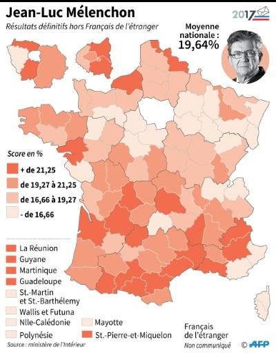 J-L Mélenchon : scores par département © Laurence SAUBADU AFP