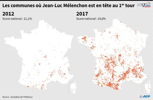 Les communes où Jean-Luc Mélenchon est en tête au premier tour © Simon MALFATTO, Laurence SAUBADU AFP