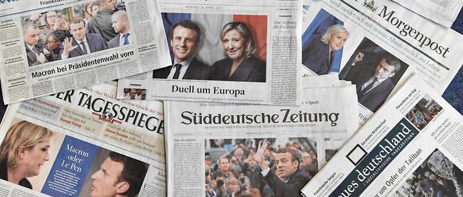 Les unes de la presse allemande le 24 avril 2017, au lendemain du premier tour de la présidentielle française..