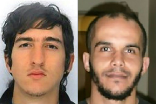Photos diffusées par la police montrant les deux suspects Clément Baur (G) et Mahiedine Merabet (D) arrêtés le 18 avril 2017 à Marseille  © Handout FRENCH POLICE/AFP/Archives