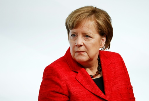 La chancelière allemande Angela Merkel lors du sommet du G20 des femmes à Berlin, le 25 avril 2017 © Odd ANDERSEN AFP/Archives