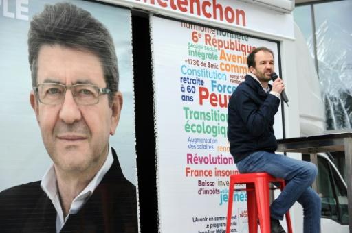 Manuel Bompard, directeur de campagne de Jean-Luc Mélenchon, le 26 mars 2017 à Rennes © FRED TANNEAU AFP