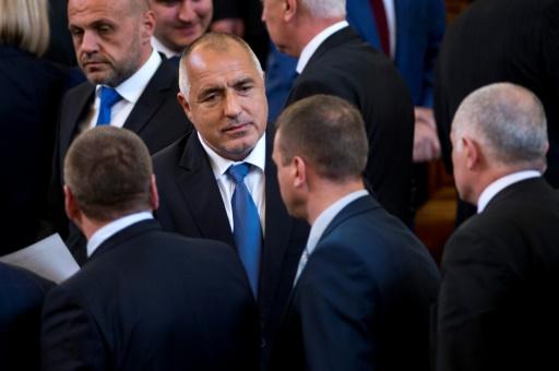 Le Premier ministre bulgare Boïko Borissov (c), le 4 mai 2017 à Sofia © NIKOLAY DOYCHINOV AFP