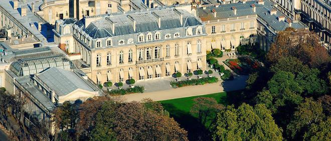 Le palais de l'Élysée vu du ciel.