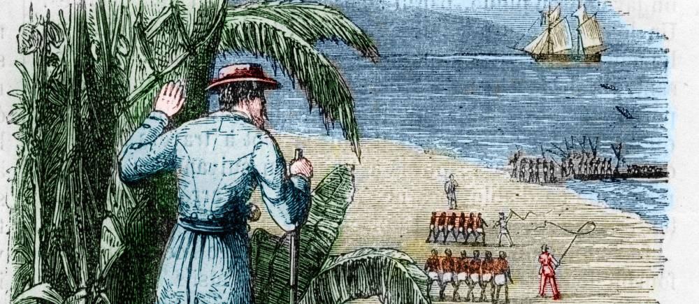 Commerce esclavagiste et traite des Noirs : embarquement d'esclaves sur les rives africaines - Gravure in «L'Univers illustré», 1868 - Collection privée. ©  Bianchetti/Leemage
