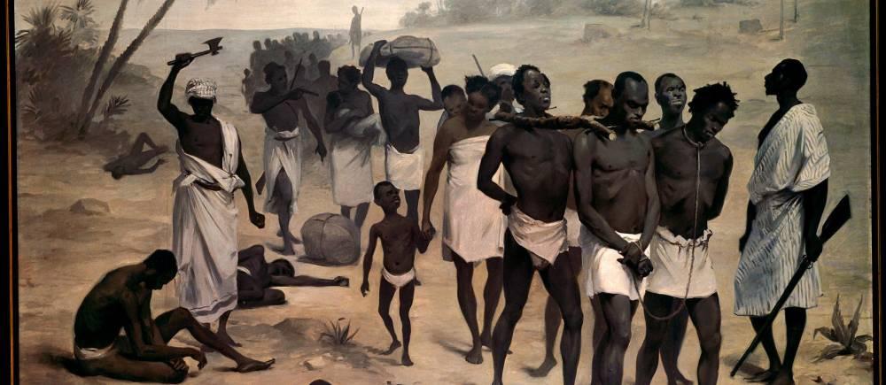 Convoi d'esclaves en Afrique - Peinture anonyme apportée par l'Association internationale africaine pour l'exposition de 1878 - Paris, musée du quai Branly-Jacques Chirac. ©  Photo Josse/leemage