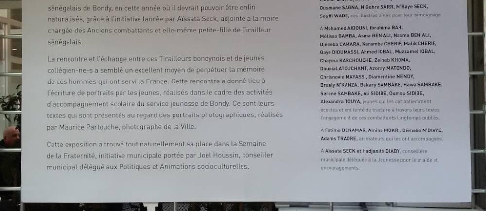 Cette exposition est née de l'idée de rendre hommage aux Tirailleurs sénégalais de Bondy,  ©  Le Point Afrique