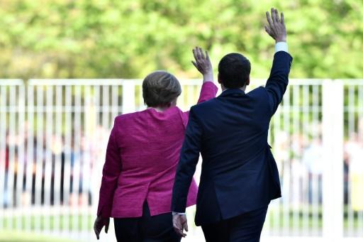 Angela Merkel et Emmanuel Macron à Berlin le 15 mai 2017 © John MACDOUGALL AFP