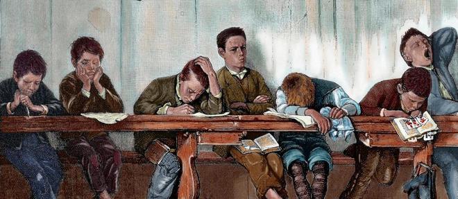 Le banc des écoliers punis (cancres). Gravure, 1884,  colorisée.