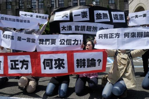 Des militants opposés au mariage pour tous manifestent, le 24 mars 2017 à Taipei, à Taïwan © SAM YEH AFP
