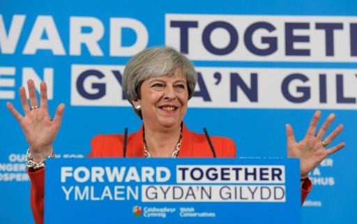 La Première ministre britannique Theresa May, en meeting à Gresford au Pays de Galles, le 22 mai 2017 © TOBY MELVILLE POOL/AFP/Archives