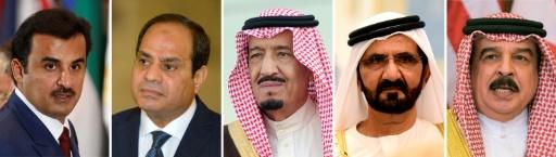 Montage photos réalisé le 5 juin 2017 de (g à d) l'Emir du Qatar, Cheikh Tamim ben Hamad al-Thani, le président égyptien Abdel Fattah al-Sissi, le roi Salman d'Arabie saoudite, le Premier ministre de l'UAE Cheikh Mohammed ben Rachid al-Maktoum et le roi de Bahreïn Hamad ben Issa al-Khalifa © Mandel NGAN, Fayez Nureldine, Khaled DESOUKI, Lucas JACKSON AFP/Archives