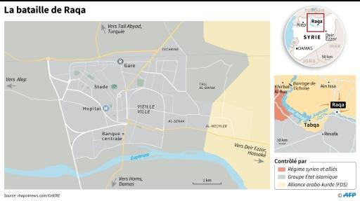 Zones contrôlées par le groupe EI et les forces arabo-kurdes dans la région de Raqa © Sabrina BLANCHARD AFP