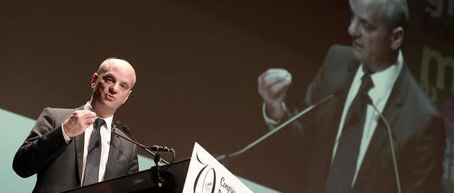 Le ministre de l'Éducation nationale Jean-Michel Blanquer durant un discours au 70e congrès de la FCPE, début juin 2017.