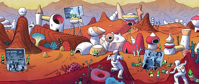 Formé aux Gobelins, Théo Guignard est l'auteur de «Labyrinthes»   (Amaterra). Dans ce récit créé pour « Le Point », les Martiens vont se   livrer à des expérimentations sur ces objets tombés du ciel avant de   célébrer le plaisir de la lecture.