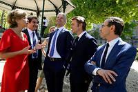 """Valérie Pécresse, Christian Jacob, Virginie Calmels, Laurent Wauquiez, François Baroin et Bruno Retailleau, le 16 mai, à Paris. ©Elodie Grégoire pour """"Le Point"""""""